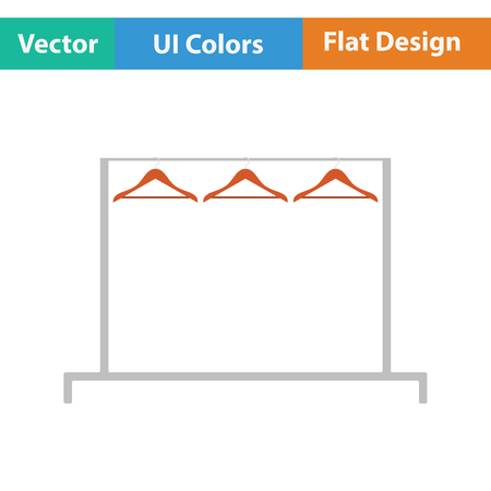 clothes rail: Clothing rail with hangers icon. Flat design. Vector illustration.