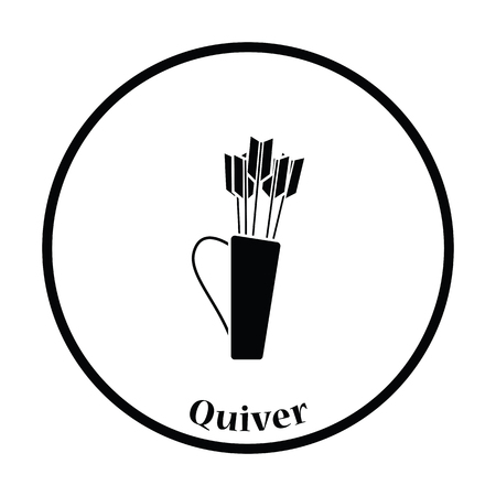 case history: Quiver with arrows icon. Thin circle design. Vector illustration. Illustration