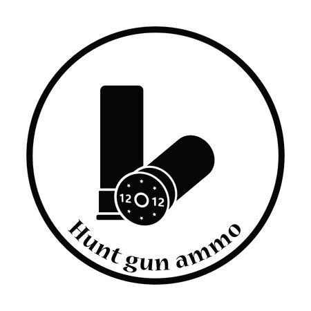 Hunt gun ammo icon. Thin circle design. Vector illustration.