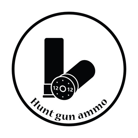 caliber: Hunt gun ammo icon. Thin circle design. Vector illustration.