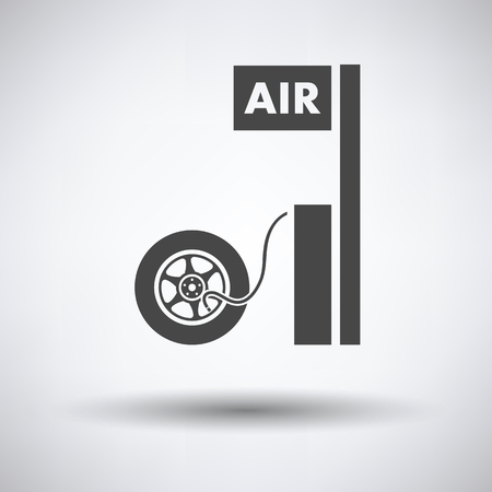 air gauge: Wheels pump station icon on gray background, round shadow. Vector illustration. Illustration