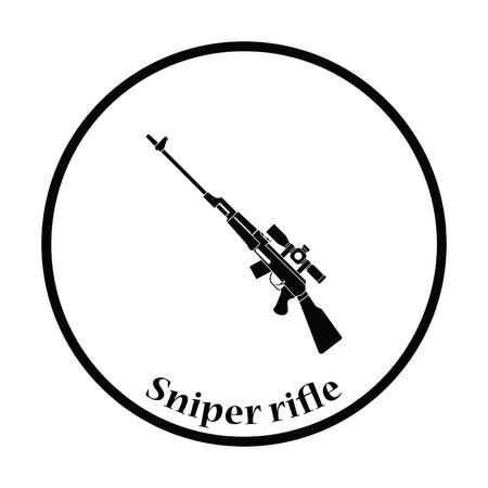 Sniper rifle icon. Thin circle design. Vector illustration. Illustration