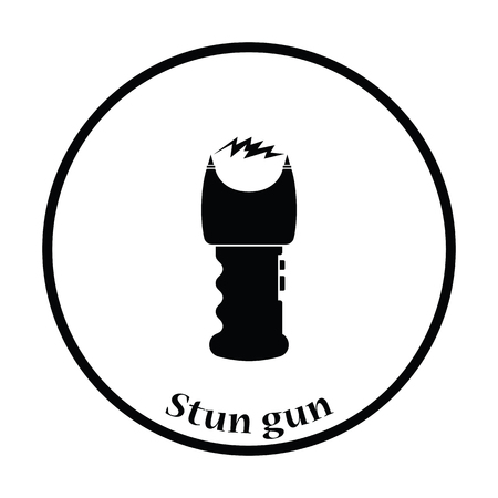 electroshock: Stun gun icon. Thin circle design. Vector illustration.