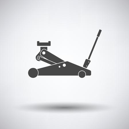 hydraulic: Hydraulic jack icon on gray background, round shadow. Vector illustration.