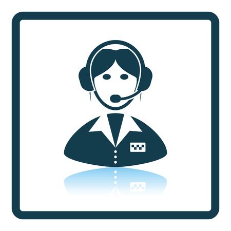 dispatcher: Taxi dispatcher icon. Shadow reflection design. Vector illustration.