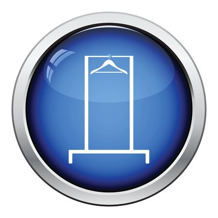 clothes rail: Hanger rail icon. Glossy button design. Vector illustration. Illustration