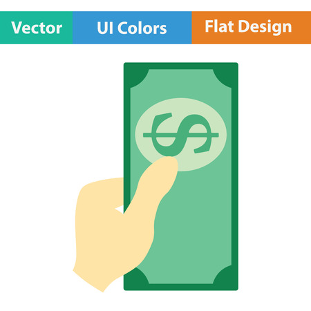 had: Had holding dollar icon. Flat design. Vector illustration.
