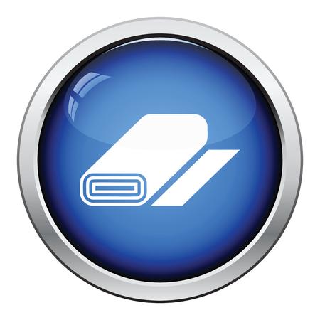 single coil: Tailor cloth roll icon. Glossy button design. Vector illustration.