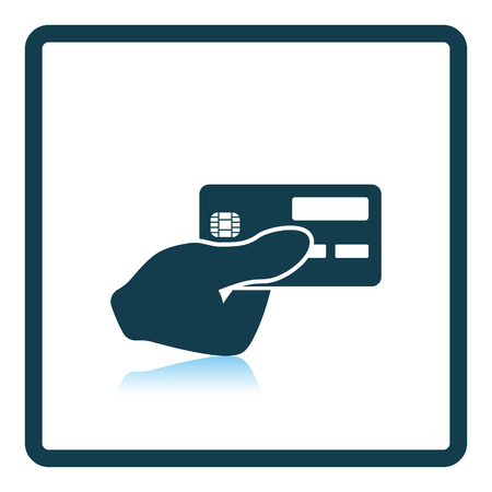 hand holding: Hand holding credit card icon. Shadow reflection design. Vector illustration.