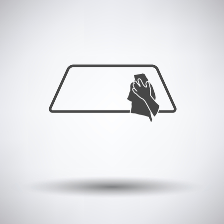 wipe: Wipe car window icon on gray background, round shadow. Vector illustration.