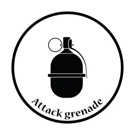 Attack grenade icon. Thin circle design. Vector illustration.