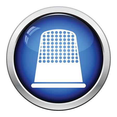 hem: Tailor thimble icon. Glossy button design. Vector illustration. Illustration