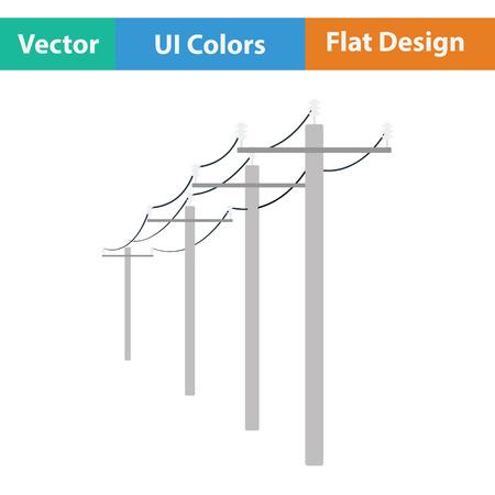 powerline: High voltage line icon. Flat design. Vector illustration. Illustration