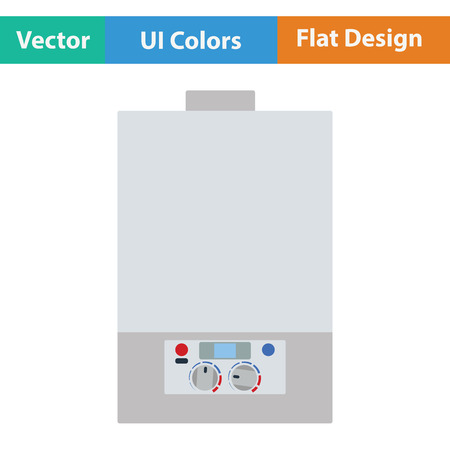 boiler: Gas boiler icon. Flat color design. Vector illustration.