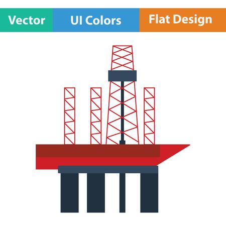 oil color: Oil sea platform icon. Flat color design. Vector illustration. Illustration