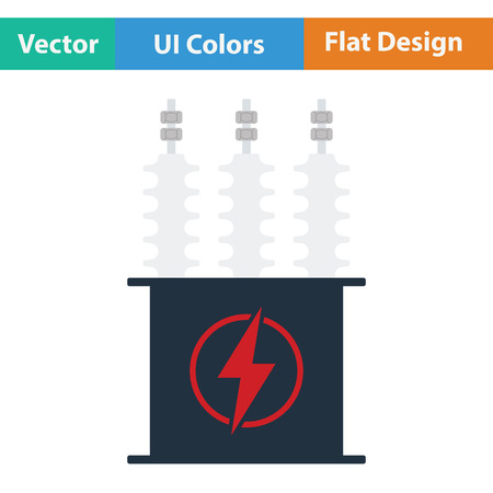 transformer: Electric transformer icon. Flat color design. Vector illustration.