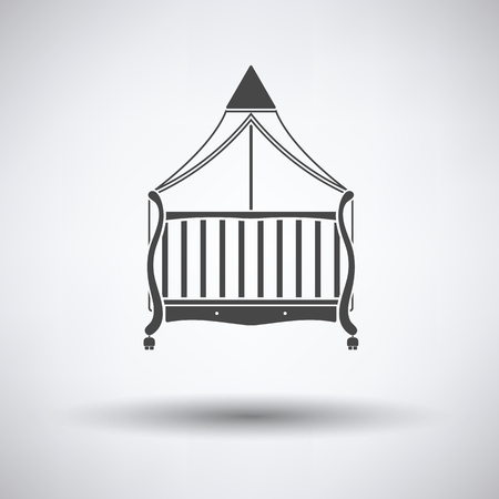 nursery room: Cradle icon on gray background, round shadow. Vector illustration. Illustration