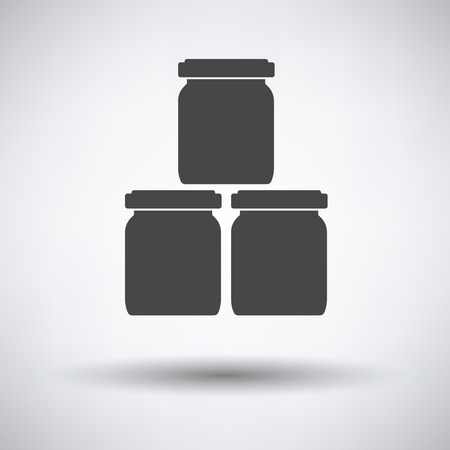 puree: Baby glass jars icon on gray background, round shadow. Vector illustration. Illustration