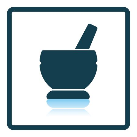 apothecary: Mortar and pestle icon. Shadow reflection design. Vector illustration.