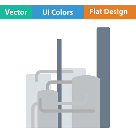 chemical plant: Chemical plant icon. Flat design. Vector illustration.