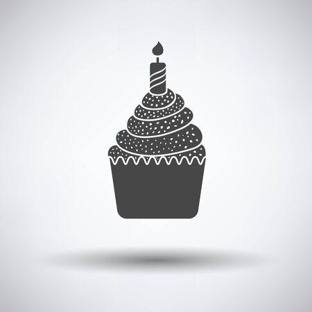 first birthday: First birthday cake icon on gray background, round shadow. Vector illustration. Illustration