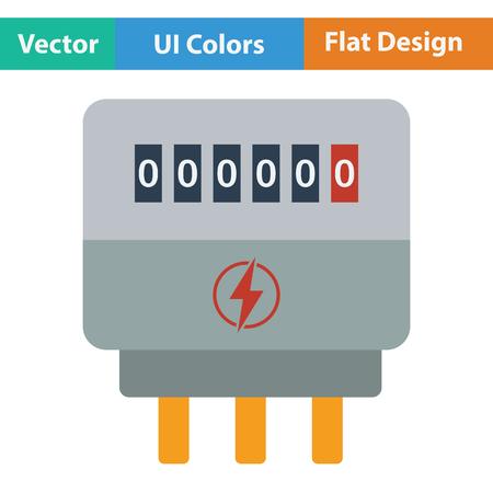 contador electrico: icono eléctrica metros. diseño de color plano. Ilustración del vector.