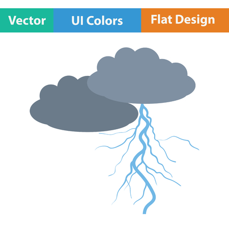 the dazzle: Clouds and lightning icon. Flat design. Vector illustration. Illustration