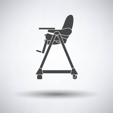 high chair: Baby high chair icon on gray background, round shadow. Vector illustration.