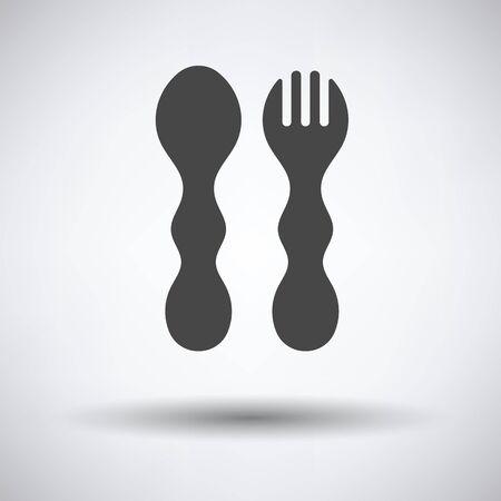 Bébé cuillère et fourchette icône sur fond gris, ombre ronde. Vector illustration.