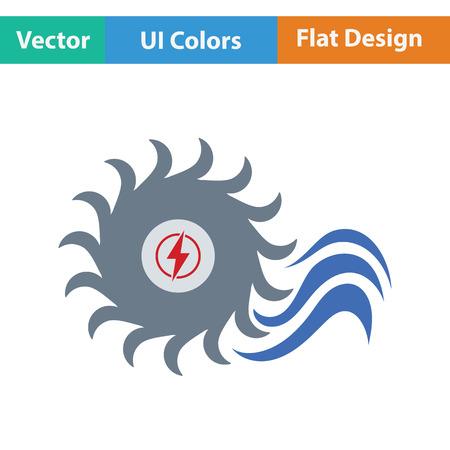 barrage: Water turbine icon. Flat color design. Vector illustration.