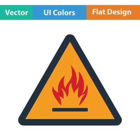 flammable: Flammable icon. Flat design. Vector illustration.