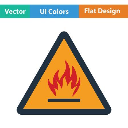 riesgo quimico: icono inflamable. Diseño plano. Ilustración del vector.