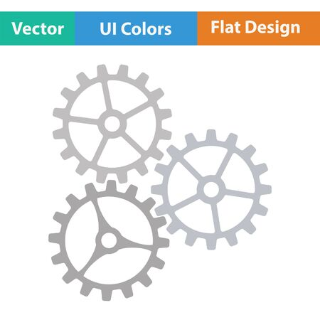 gear icon: Gear icon. Flat color design. Vector illustration. Illustration