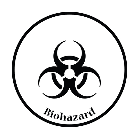 biological waste: Biohazard icon. Thin circle design. Vector illustration.