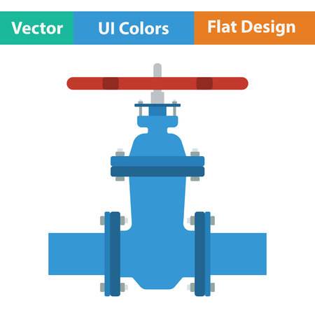 Pipe valve icon. Flat color design. Vector illustration.