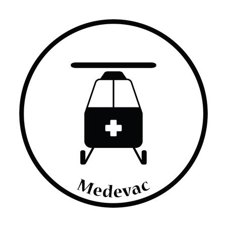 Medevac icon. Thin circle design. Vector illustration. Illustration