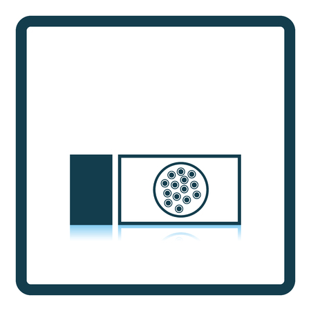 glass reflection: Bacterium glass icon. Shadow reflection design. Vector illustration.