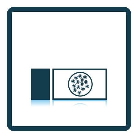 Bacterium glass icon. Shadow reflection design. Vector illustration.