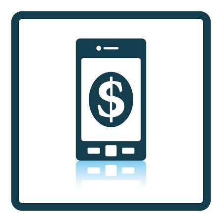 dollar sign icon: Smartphone with dollar sign icon. Shadow reflection design. Vector illustration.