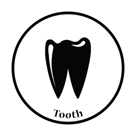 mouth screen: Tooth icon. Thin circle design. Vector illustration. Illustration