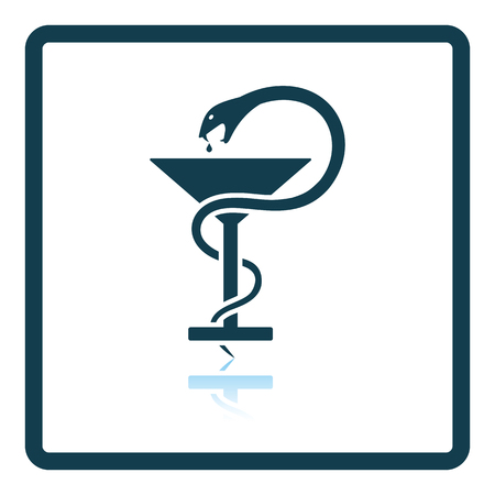 Medicine sign with snake and glass icon. Shadow reflection design. Vector illustration. Illustration