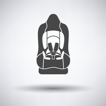 seat belt: Baby car seat icon on gray background, round shadow. Vector illustration.
