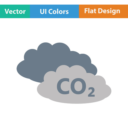 toxic cloud: CO2 cloud icon. Flat color design. Vector illustration. Illustration
