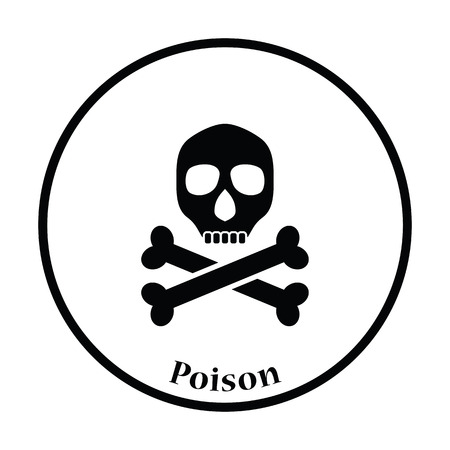 poison sign: Poison sign icon. Thin circle design. Vector illustration.