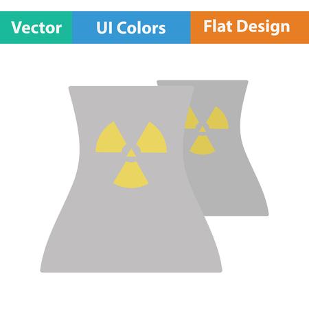 contaminate: Nuclear station icon. Flat design. Vector illustration. Illustration