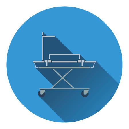 stretcher: Medical stretcher icon. Flat color design. Vector illustration. Illustration
