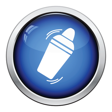 beverage: Bar shaker icon. Glossy button design. Vector illustration.
