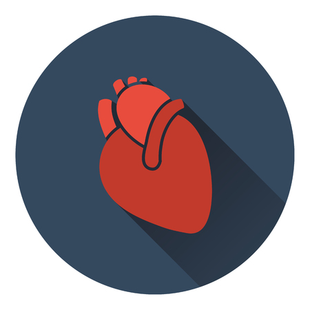 ventricle: Human heart icon. Flat color design. Vector illustration.