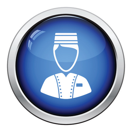 doorkeeper: Hotel boy icon. Glossy button design. Vector illustration.