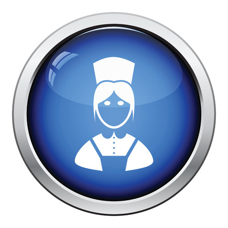 homemakers: Hotel maid icon. Glossy button design. Vector illustration. Illustration